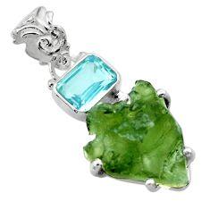 10.58cts natural green moldavite (genuine czech) topaz 925 silver pendant r29416