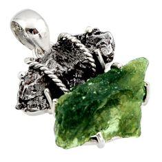 16.85cts natural green moldavite campo del cielo 925 silver pendant d47391