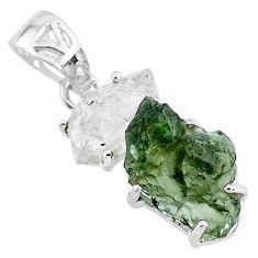 10.45cts natural green moldavite herkimer diamond 925 silver pendant r71922