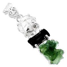 14.79cts natural green moldavite tourmaline rough 925 silver pendant r71847