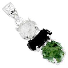 12.66cts natural green moldavite tourmaline rough 925 silver pendant r71852