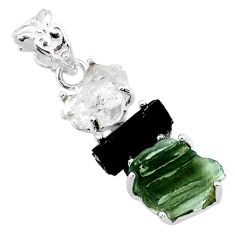 13.03cts natural green moldavite tourmaline rough 925 silver pendant r71858