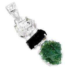 13.68cts natural green moldavite tourmaline rough 925 silver pendant r71860