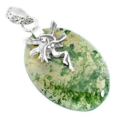 24.42cts natural green moss agate 925 silver angel wings fairy pendant r90921