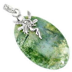 33.88cts natural green moss agate 925 silver angel wings fairy pendant r90936