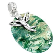 27.10cts natural green moss agate 925 silver angel wings fairy pendant r90939
