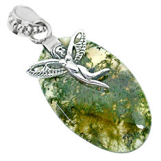 22.37cts natural green moss agate 925 silver angel wings fairy pendant r91311