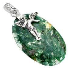 Clearance Sale- 23.07cts natural green moss agate 925 silver angel wings fairy pendant r91320