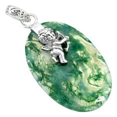 21.66cts natural green moss agate 925 silver cupid angel wings pendant r90925