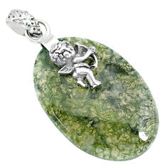 27.07cts natural green moss agate 925 silver cupid angel wings pendant r90926