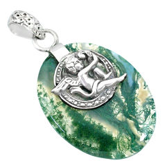 Clearance Sale- 20.10cts natural green moss agate 925 silver cupid angel wings pendant r90930