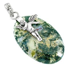 25.82cts natural green moss agate 925 silver cupid angel wings pendant r90931