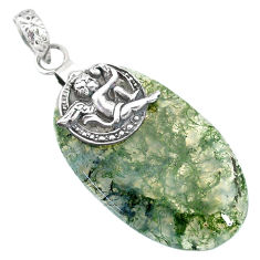 Clearance Sale- 27.71cts natural green moss agate 925 silver cupid angel wings pendant r90932