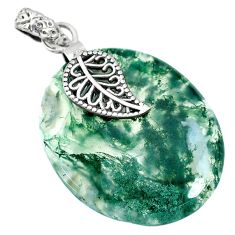 27.81cts natural green moss agate 925 silver deltoid leaf pendant r90935