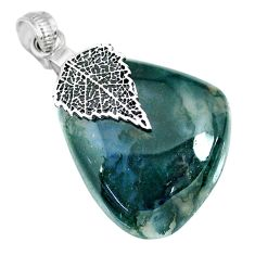 45.43cts natural green moss agate 925 silver deltoid leaf pendant r91312