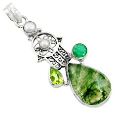 Clearance Sale- 18.63cts natural green moss agate 925 silver hand of god hamsa pendant d45105