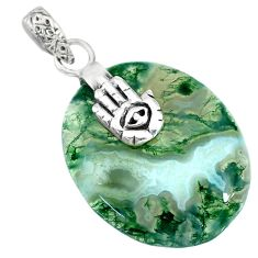 24.58cts natural green moss agate 925 silver hand of god hamsa pendant r90937