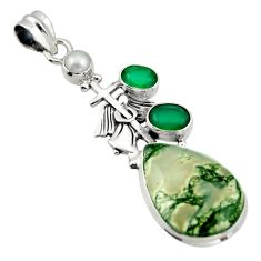 20.75cts natural green moss agate 925 silver holy cross pendant d47256