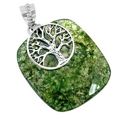 36.03cts natural green moss agate 925 silver tree of life pendant r74496