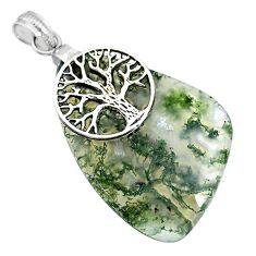 36.44cts natural green moss agate 925 silver tree of life pendant r91315