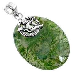 33.64cts natural green moss agate 925 sterling silver angel pendant r74498