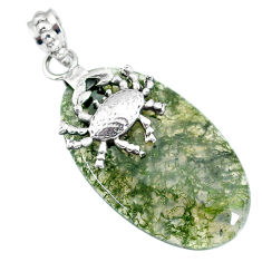 Clearance Sale- 25.82cts natural green moss agate 925 sterling silver crab pendant r90922