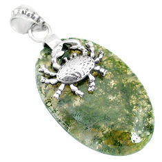 27.10cts natural green moss agate 925 sterling silver crab pendant r90928