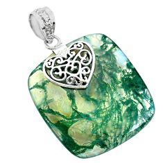 28.90cts natural green moss agate 925 sterling silver heart pendant r74495