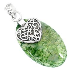 23.10cts natural green moss agate 925 sterling silver heart pendant r90923