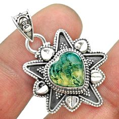 5.12cts natural green moss agate 925 sterling silver heart pendant t56098