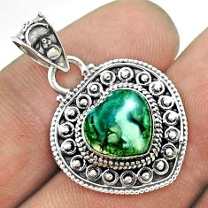 4.82cts natural green moss agate 925 sterling silver heart pendant t56191