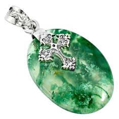 25.19cts natural green moss agate 925 sterling silver holy cross pendant r74499