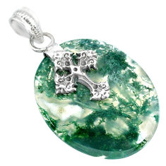 23.87cts natural green moss agate 925 sterling silver holy cross pendant r90934