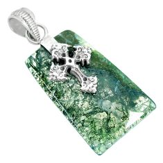 20.10cts natural green moss agate 925 sterling silver holy cross pendant r90938