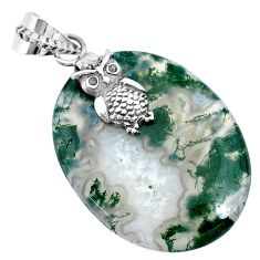 32.06cts natural green moss agate 925 silver owl handmade pendant r74493