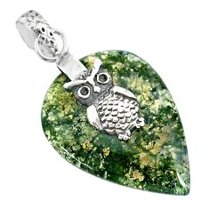 19.58cts natural green moss agate 925 sterling silver owl pendant jewelry r91309