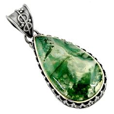 18.46cts natural green moss agate 925 sterling silver pendant jewelry d45111