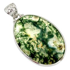 31.96cts natural green moss agate 925 sterling silver pendant jewelry r41816