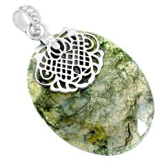 37.41cts natural green moss agate 925 sterling silver pendant jewelry r90927