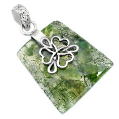 Clearance Sale- 21.29cts natural green moss agate 925 sterling silver pendant jewelry r90940