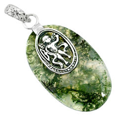 Clearance Sale- 24.10cts natural green moss agate 925 sterling silver pendant jewelry r91307