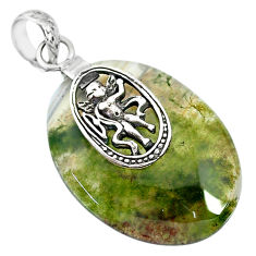 26.27cts natural green moss agate 925 sterling silver pendant jewelry r91308