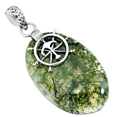 Clearance Sale- 22.34cts natural green moss agate 925 sterling silver pendant jewelry r91310