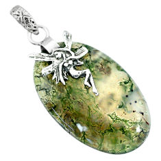 30.39cts natural green moss agate 925 sterling silver pendant jewelry r91313