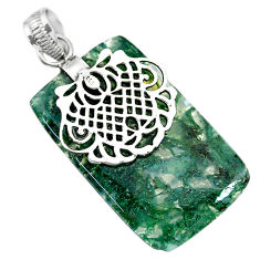 Clearance Sale- 24.99cts natural green moss agate 925 sterling silver pendant jewelry r91314