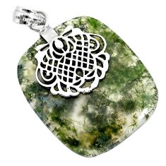 34.37cts natural green moss agate 925 sterling silver pendant jewelry r91316