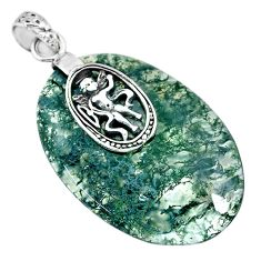 36.44cts natural green moss agate 925 sterling silver pendant jewelry r91317