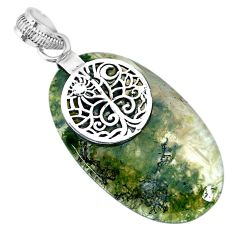 23.74cts natural green moss agate 925 sterling silver pendant jewelry r91318