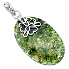 Clearance Sale- 25.66cts natural green moss agate 925 sterling silver pendant jewelry r91319