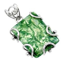 18.60cts natural green moss agate 925 sterling silver pendant jewelry t31868